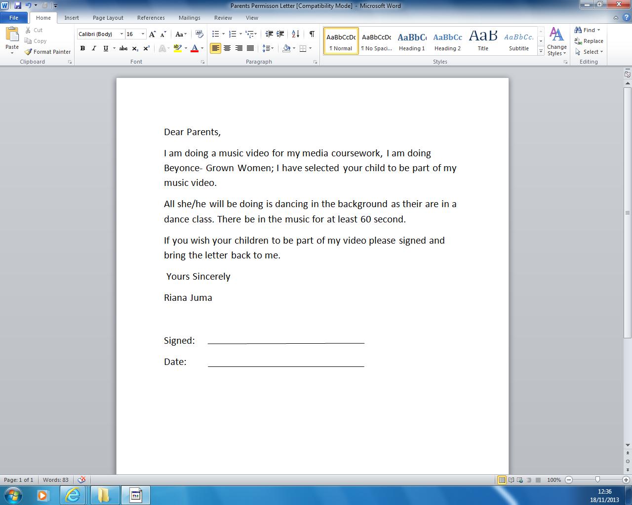 riana juma s a2 media parents permission letter