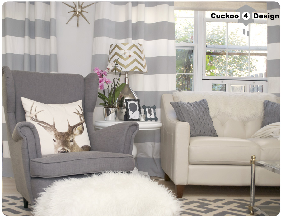 Grey and White Horizontal Striped Curtains