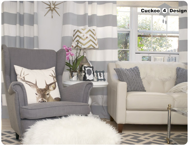Ikea Strandmon, grey horizontal striped curtains, grey Overstock rug
