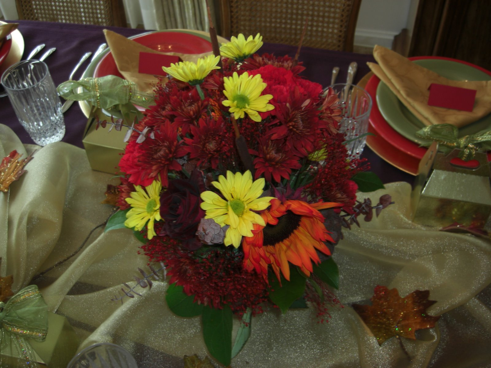 Utah county mom thanksgiving fresh flower centerpiece
