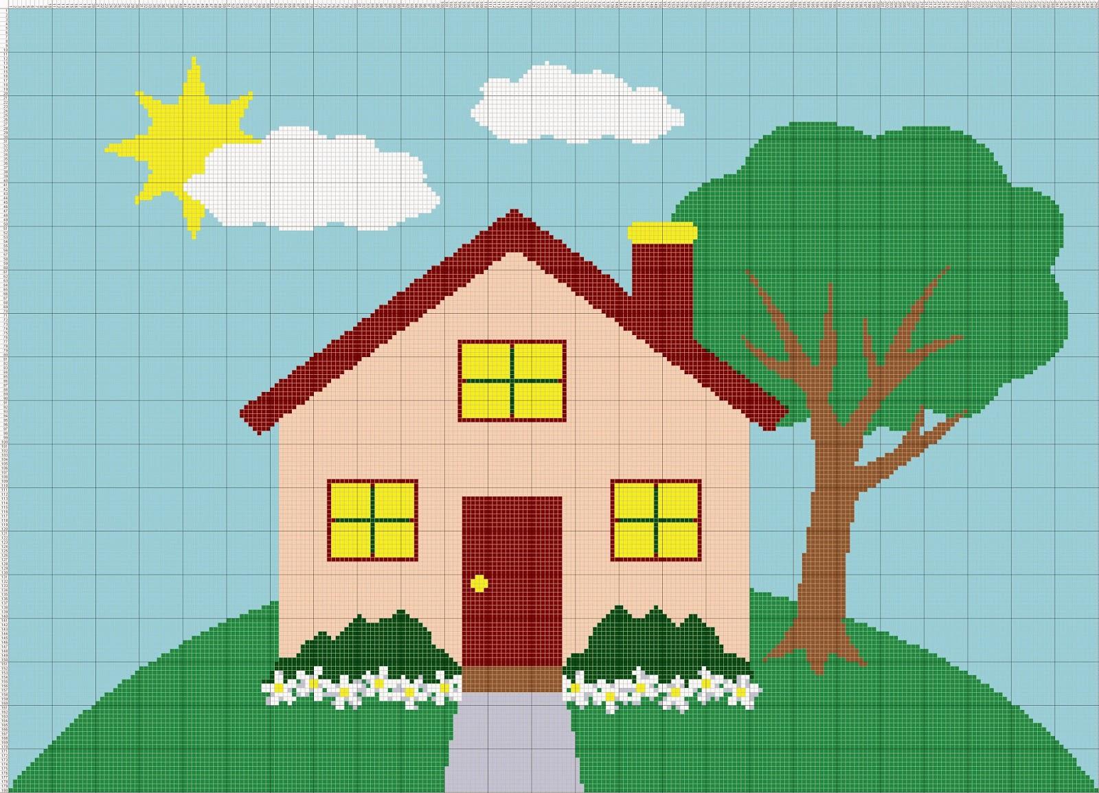 Gambar Pola Kristik Sederhana Rumah (2)