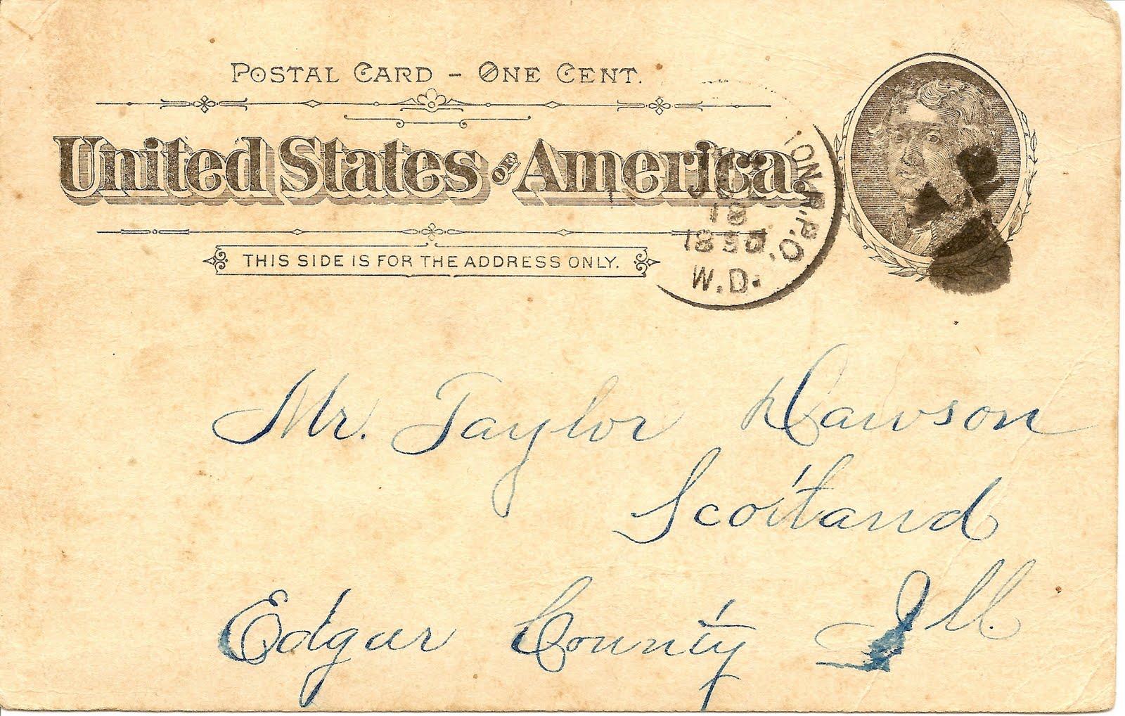 Illinois edgar county kansas - Amanuensis Monday 1895 Postcard Kansas To Illinois