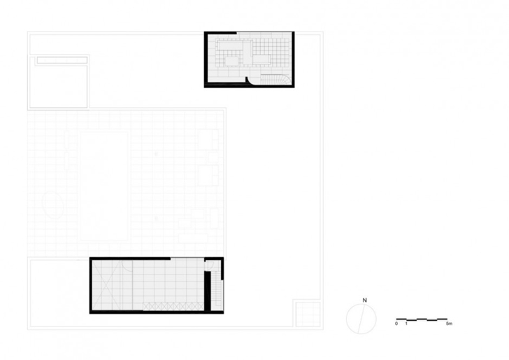 Upper floor plan of Minimalist Home by Beel & Achtergael Architects