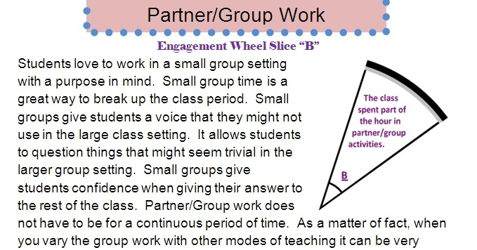 reflections of a high school math teacher  partner  group work  the student engagement wheel and