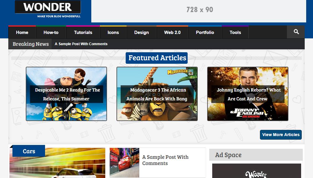Download Wonder Responsive Multimedia Free Blogger Template