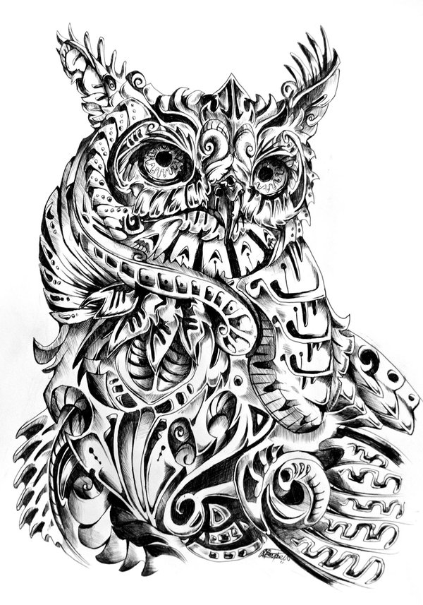 tattoo owl coloring pages - photo#12