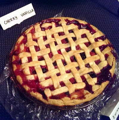 Pi day cherry vanilla lattice pie