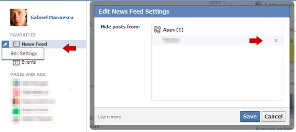 Caseta Edit News Feed Settings permite editarea setarilor stirilor afisate in flusul de stiri Facebook
