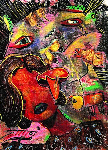 """I Hide Behind my Face"" Acrylic & Pastel on Canvas by Penelope Przekop"