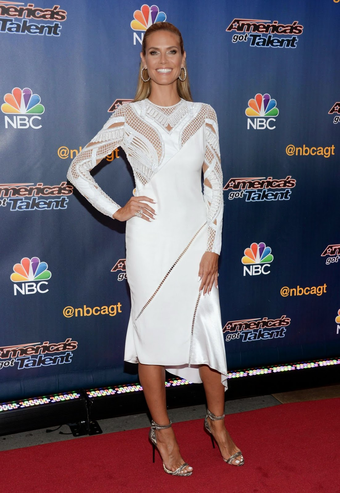 Heidi Klum in a Versace dress at the America's Got Talent Season 9 Pre-Show Event in NYC