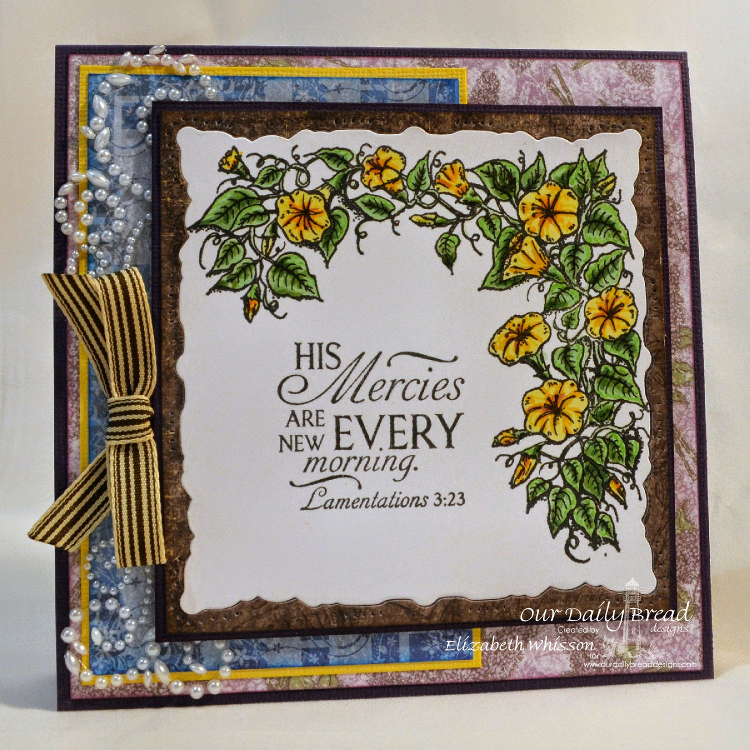 Elizabeth Whisson, Our Daily Bread Designs, Gloy, ODBD Blooming Garden Paper Collection, ODBD Christian Faith Paper Collection, morning glory, Lamentations 3:23,