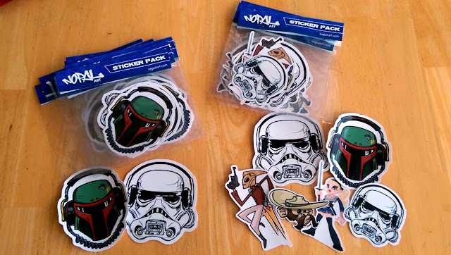 Stormtrooper Boombox, Boba Fett Boombox, Baby Doll, Rocketeer, Chimp Bandito stickers