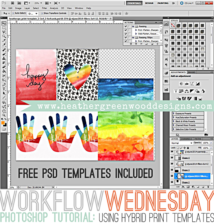 Heather Greenwood | How To Use The Freebie Hybrid PSD Print Templates for Printing Out Your Journal Cards
