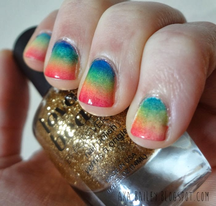 Rainbow sponge gradient for nails