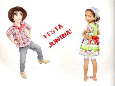 Roupa caipira infantil pra Festa Junina