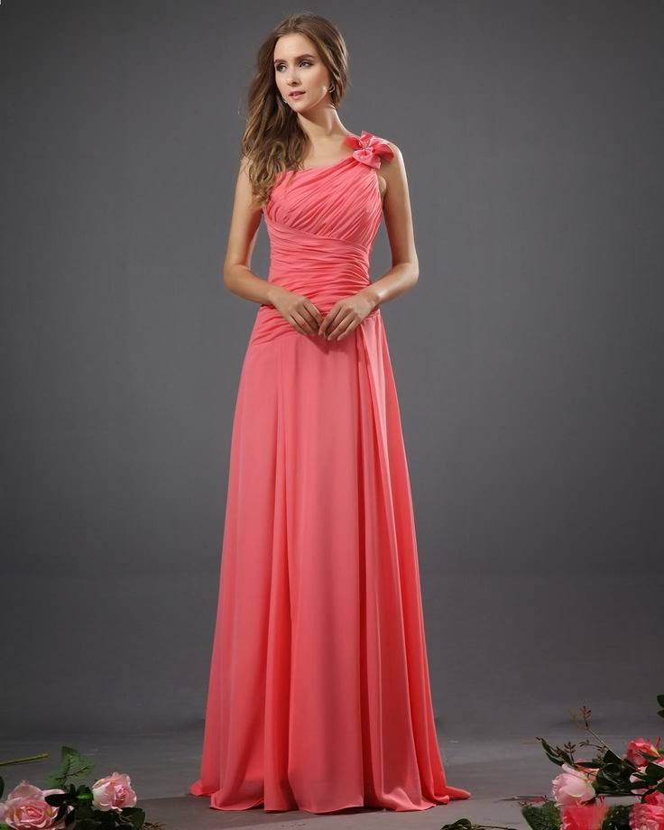 Bowtie Chiffon One Shoulder Floor Length Bridesmaid #Dress