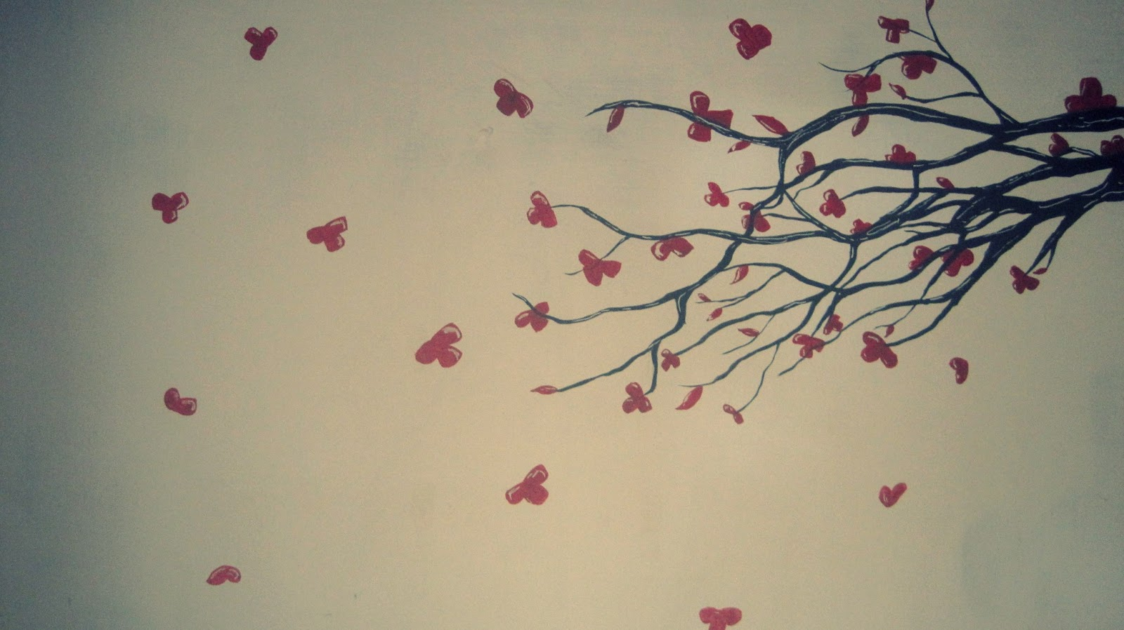 Arbol de cerezos mural en pared kadir bali black - Arboles en la pared ...
