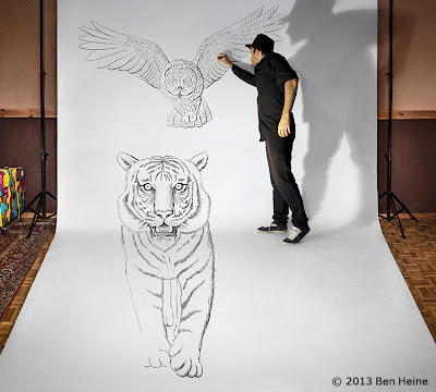 Ben Heine Art - 3D Drawing - Pencil Vs Camera - Tiger Owl and Artist in Forest - 2013