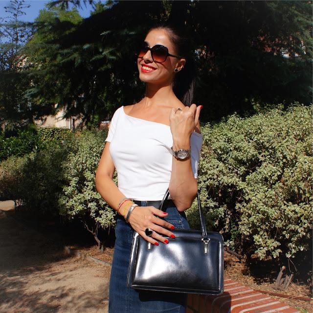 La Caprichossa: LOOK falda lápiz y escote Bardot