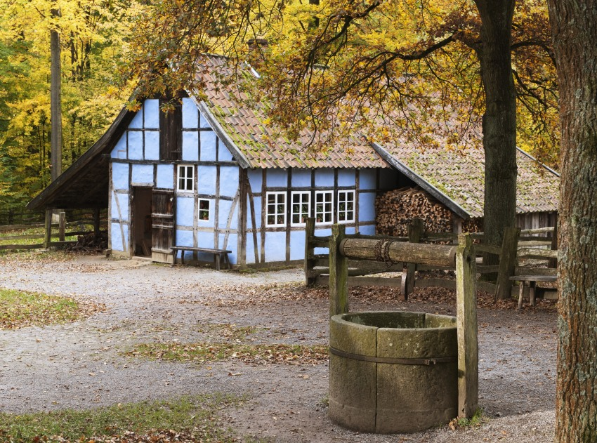 Autumn in a ancient german village. Freilichtmuseum Detmold.