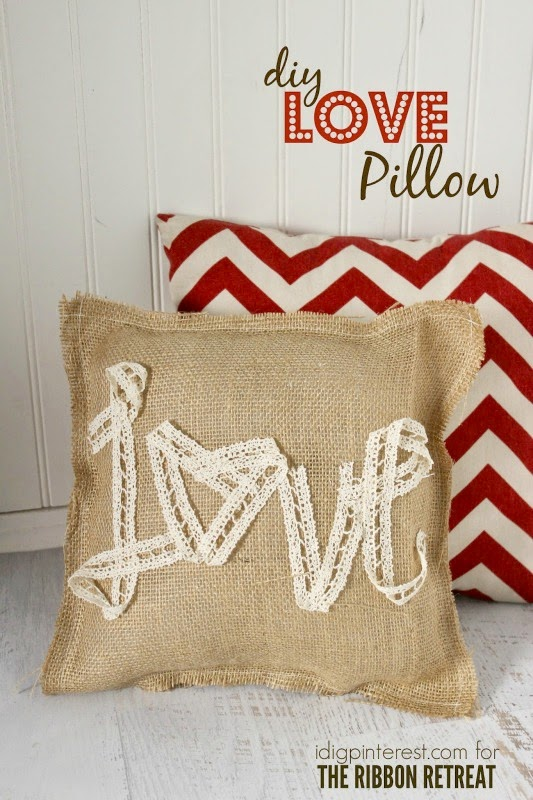 Valentine burlap lace pillow diy