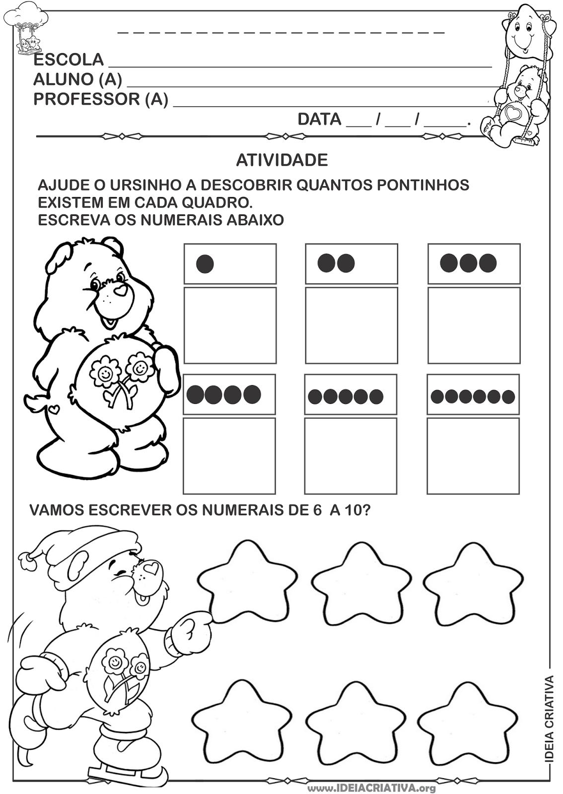 Atividade Matemática Educação Infantil Ursinhos Carinhosos