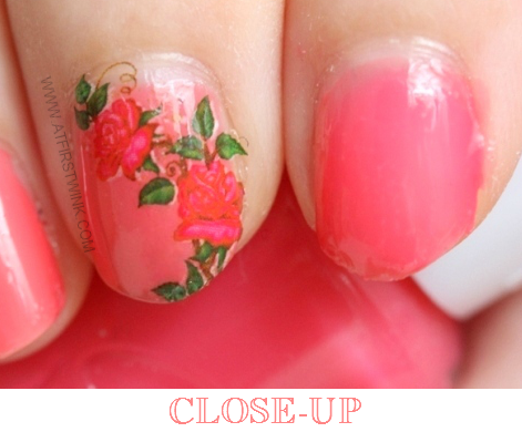 Etude House nail polish OR202 - Grapefruit syrup with pink rose vine water decal (close-up)