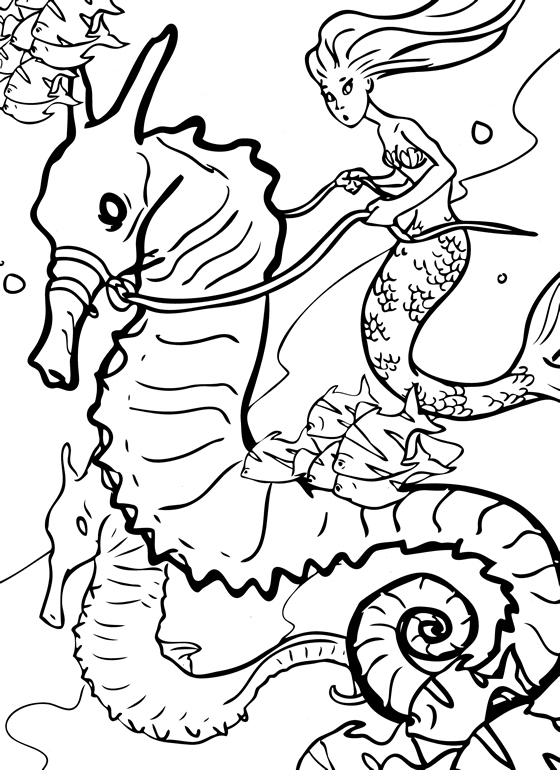 mermaid and seahorse coloring pages - photo#8