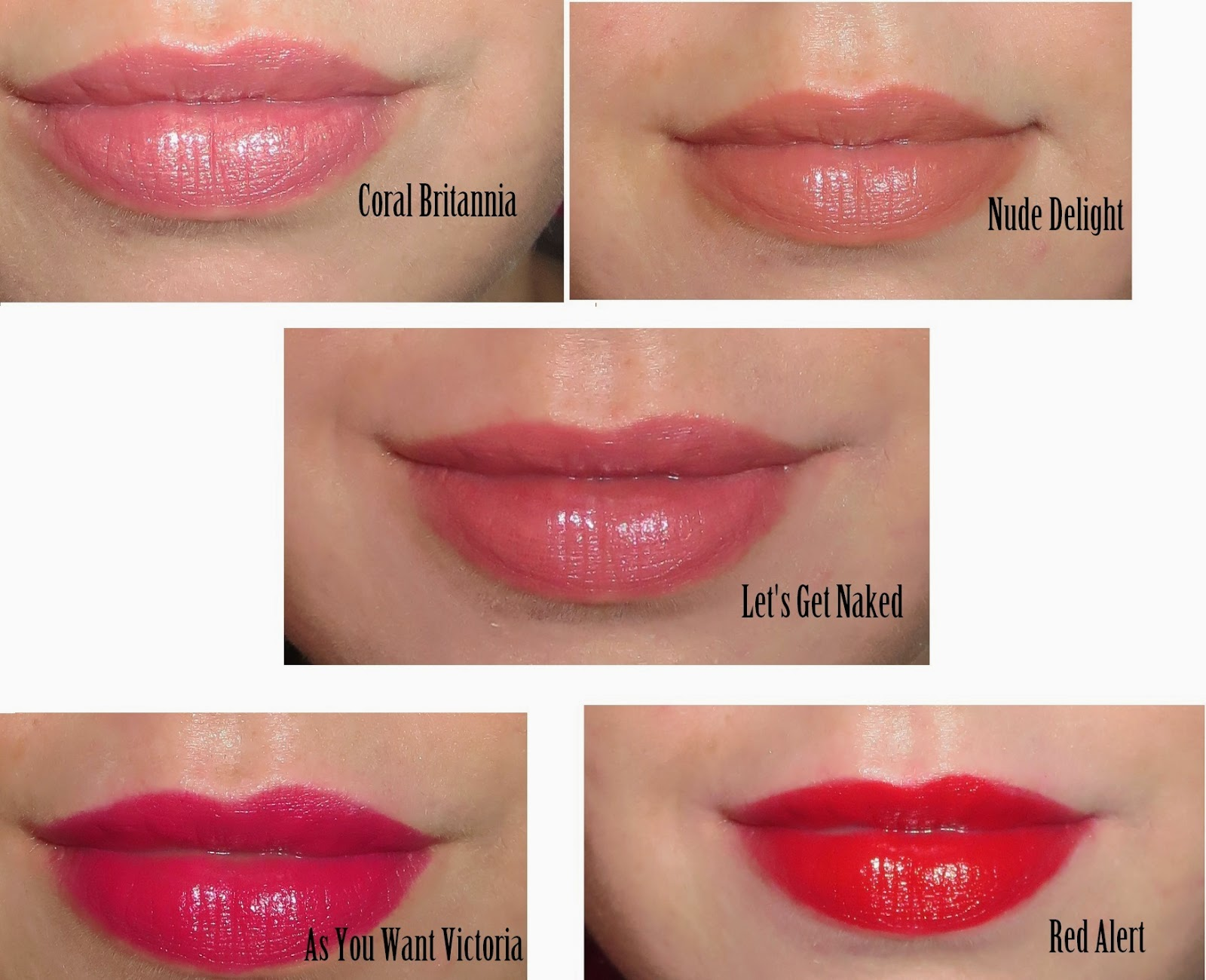 a picture of Rimmel Moisture Renew Lipsticks (lip swatch) ; Red Alert, As You Want Victoria, Let's Get Naked, Nude Delight, Coral Britannia