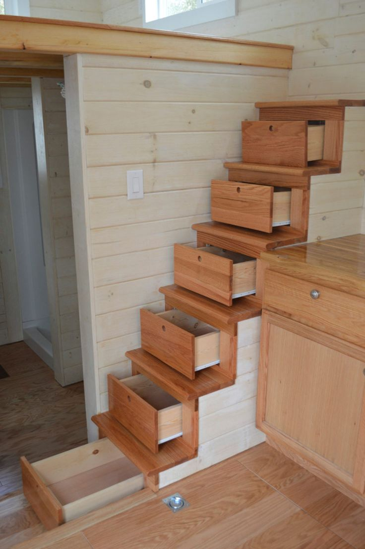 Tiny house fever organizing made fun tiny house fever for Under stairs drawers plans
