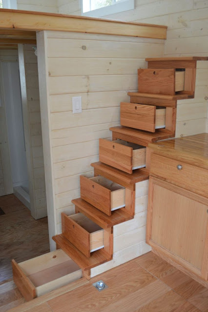 Tiny House with drawers in stairs :: OrganizingMadeFun.com