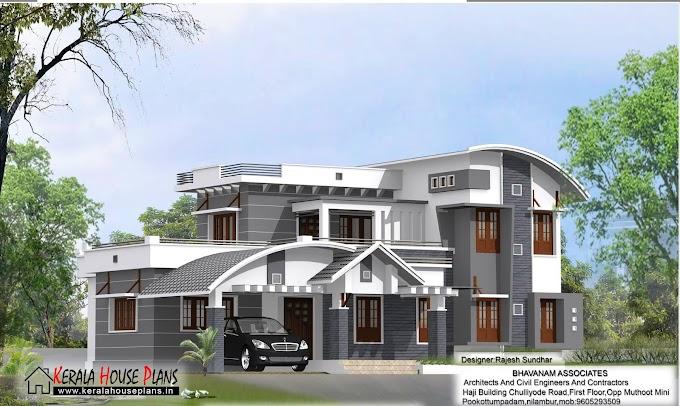 Modern 2600 sqft. Mixed Roof House Design