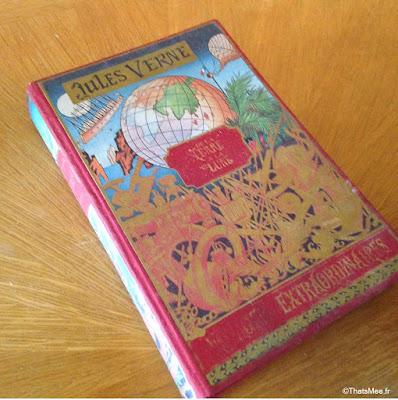 antiquaire brocante la broc'hanteuse christiane delvincourt, edition Jules verne livre tour du monde vintage