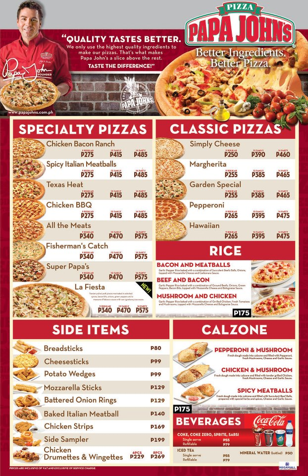 Papa Johns Menu / 5 12 votes Thank you for visitting tiospecicin.gq Please add any new restaurant deals, specials and coupons in the comment part below each page.