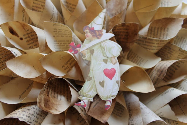 Valentine book page wreath
