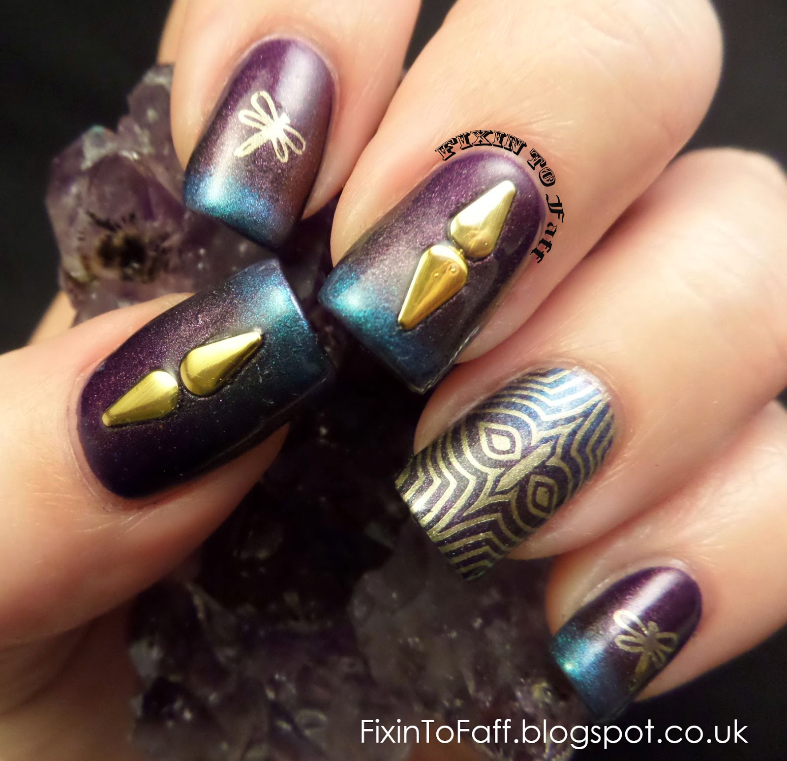 Updated gradient dragonfly stamped nail art with crystals and nail charm.