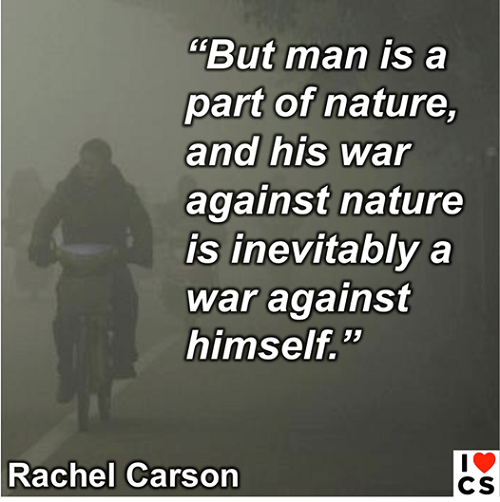 """But man is a part of nature, and his war against nature is inevitably a war against himself."" -Rachel Carson (Credit: www.facebook.com/iheartcomsci) Click to enlarge."