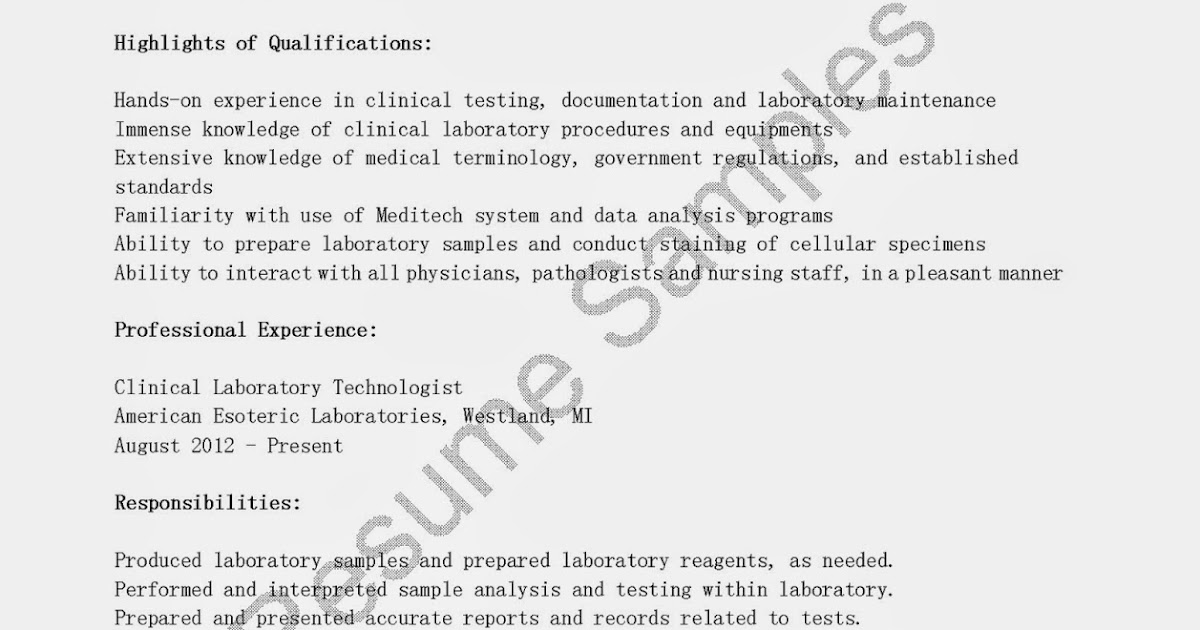 sample resume for medical laboratory technician resume samples clinical laboratory technologist sample template medical
