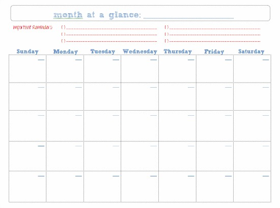 Month At A Glance Blank Calendar | Search Results | Calendar 2015