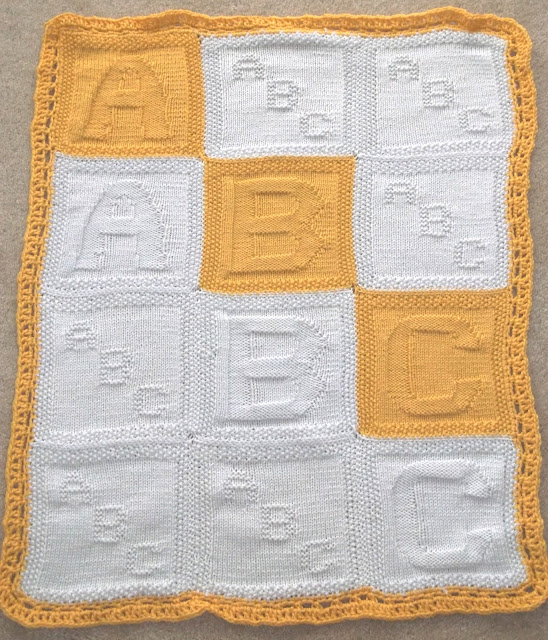 Crochet Pattern For Abc Baby Blanket : Skipping Along: ABC baby blanket (knitted)