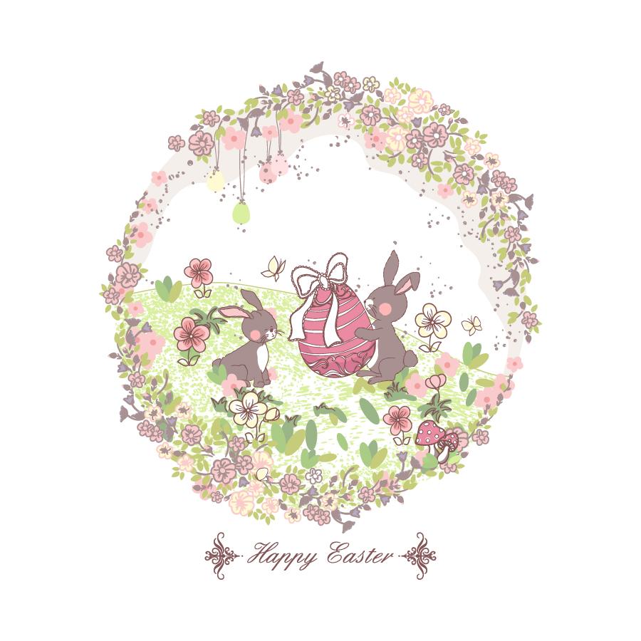 花飾りのイースター バニー Easter bunny with flower design イラスト素材