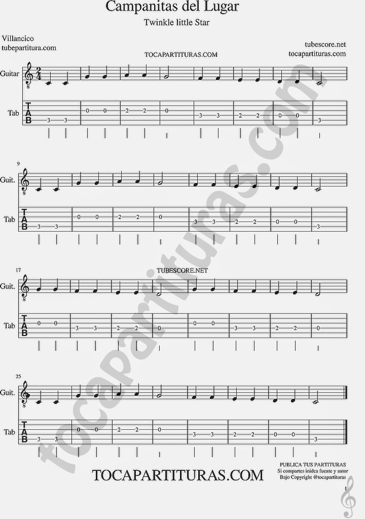 Tubepartitura Campanitas de Lugar Tablatura y partitura de guitarra Punteo de Campanitas de Lugar Villancico Popular