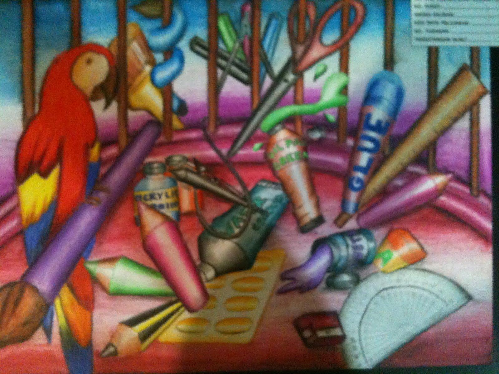 lukisan alatan dan bahan