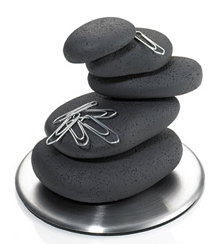 stacked stones paperweight and paper clip holder