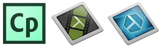 Logos for Captivate, Camtasia and Snagit