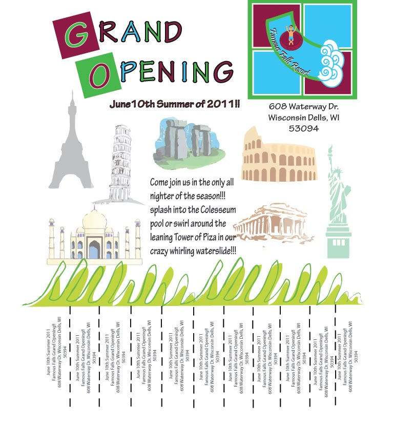 Advanced Desktop Publishing Waterpark Grand Opening Flyer