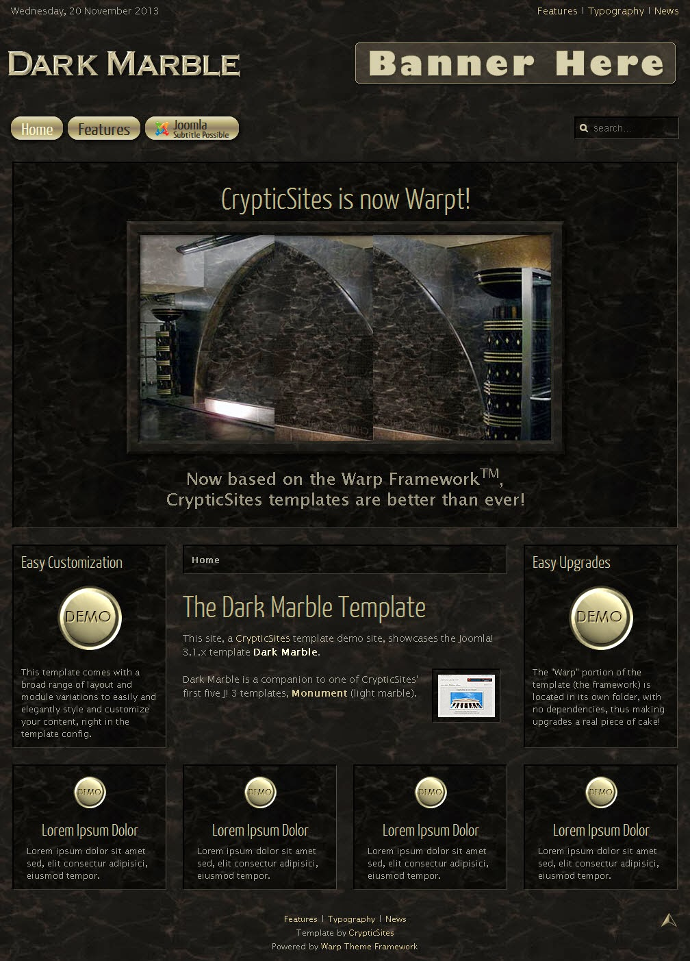 Black Joomla Templates Dark Marble : Black template Joomla 3.X | Free Template joomla 3.7