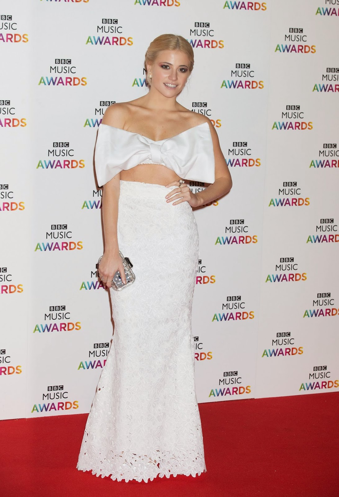 Pixie Lott in a bow cropped top at the 2014 BBC Music Awards in London