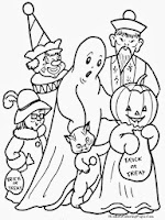 Kids Doing Trick Or Treat On Halloween Coloring Pages
