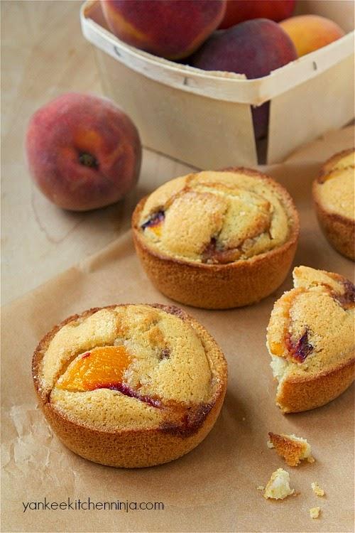 healthy, gluten-free peach cake muffins